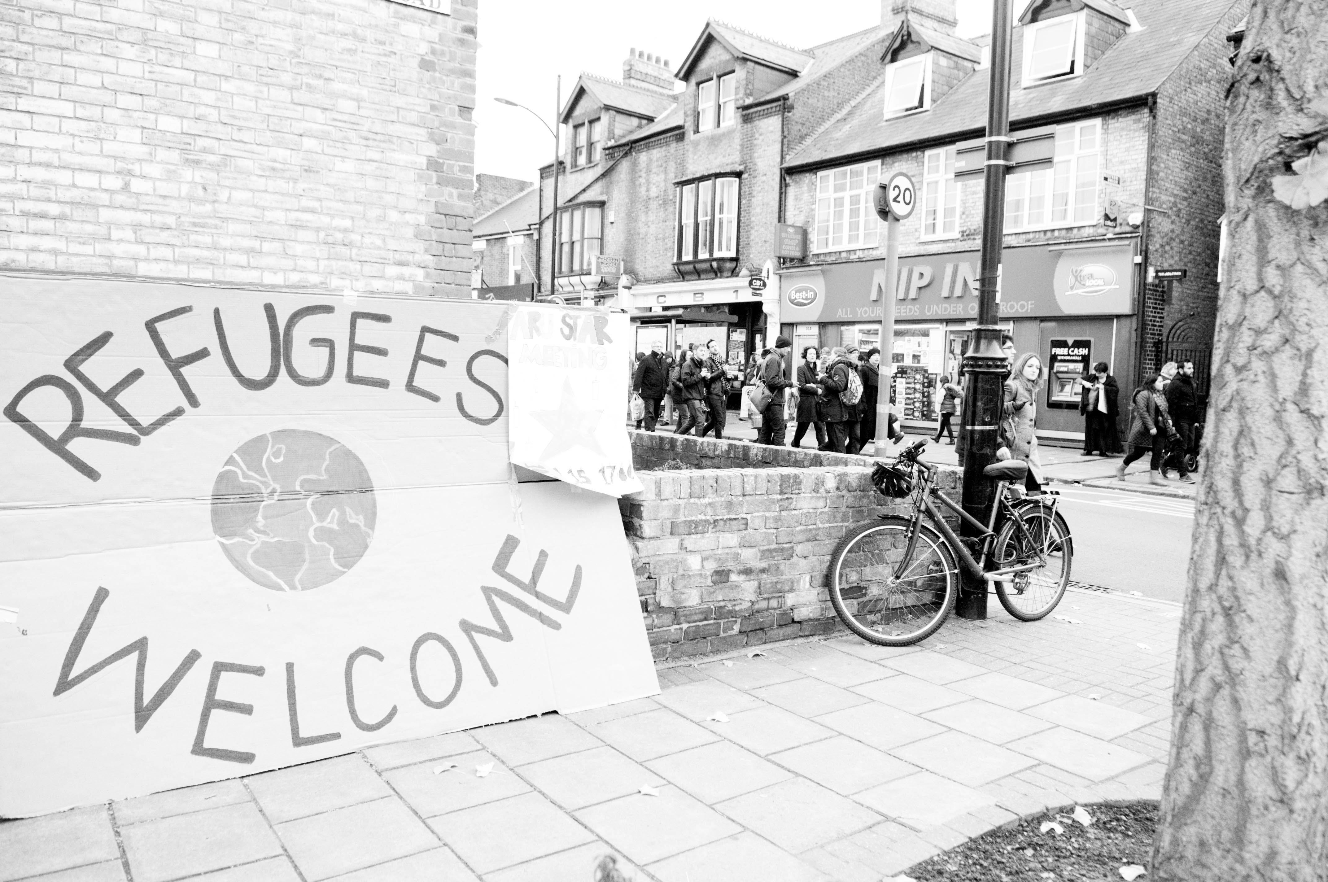 A march supporting refugees and asylum seekers in Cambridge
